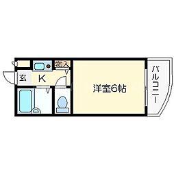 クレセント都島[4階]の間取り