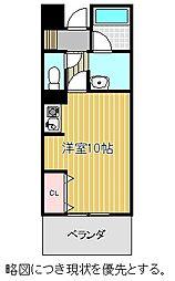 名古屋市営名城線 八事日赤駅 徒歩8分の賃貸マンション 1階ワンルームの間取り