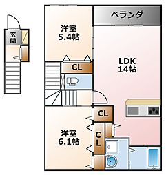 エーデルハイム甲子園[2階]の間取り
