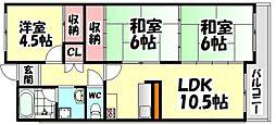 大阪府堺市西区鳳西町3丁の賃貸マンションの間取り