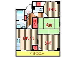 千葉県船橋市新高根6丁目の賃貸マンションの間取り