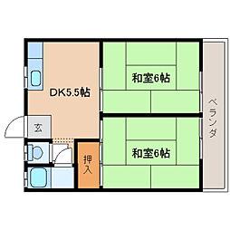 奈良県奈良市西大寺芝町2丁目の賃貸アパートの間取り