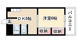 愛知県名古屋市昭和区紅梅町1丁目の賃貸アパートの間取り