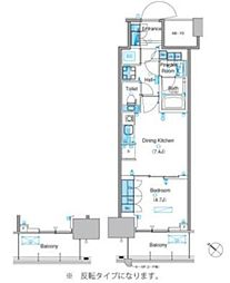 パークアクシス豊洲キャナル 19階1DKの間取り