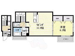 Osaka Metro谷町線 大日駅 徒歩7分の賃貸アパート 2階1LDKの間取り