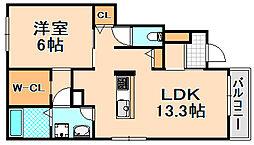 兵庫県伊丹市桜ケ丘6丁目の賃貸アパートの間取り