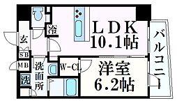 プレサンス THE 神戸 8階1LDKの間取り