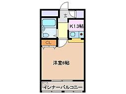 三重県四日市市西浜田町の賃貸マンションの間取り