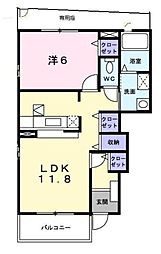 神奈川県横浜市都筑区東山田1丁目の賃貸アパートの間取り