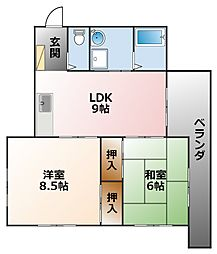 甲子園ファイブII[1階]の間取り