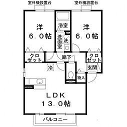 スタシオン東野アクシスE棟[201号室号室]の間取り