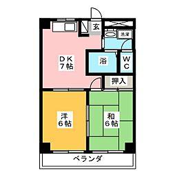 ソレイユ並木 2階2DKの間取り