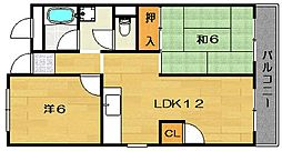 マンション紫明園[4階]の間取り