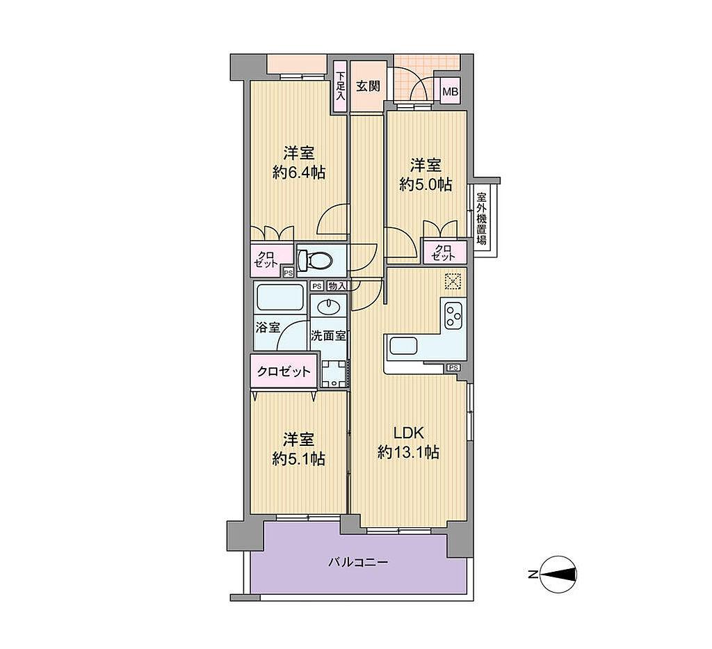 間取り(住戸はエレベーターを降りてすぐ隣、かつ階のため急ぎのときは階段を使うにも支障のないお部屋です。2LDKとしても3LDKとしても使える間取りのため、家族構成が変わっても長く快適にお使い頂けます。)