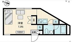 東急世田谷線 上町駅 徒歩1分の賃貸マンション 1階ワンルームの間取り