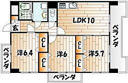 福岡県北九州市小倉北区中井3丁目の賃貸マンションの間取り