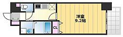 TKアンバーコート津久野 2階1Kの間取り