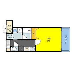 アパートメント玉串 1階1Kの間取り