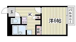 JR播但線 野里駅 徒歩23分の賃貸アパート 2階1Kの間取り
