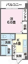 ウィステリアII 5階1Kの間取り