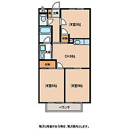 長野県飯田市松尾明の賃貸アパートの間取り
