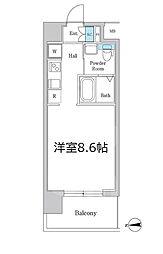 Osaka Metro谷町線 南森町駅 徒歩5分の賃貸マンション 3階ワンルームの間取り
