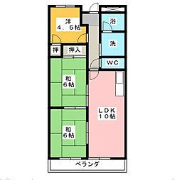 愛知県北名古屋市熊之庄古井の賃貸マンションの間取り