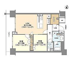 ブランズ渋谷常盤松 9階2LDKの間取り