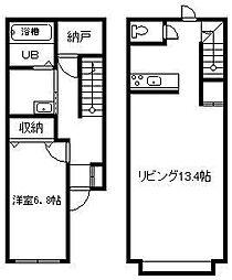 マハロ 1階1LDKの間取り