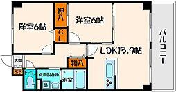 コモドガーデンヤマイチ 3階2LDKの間取り