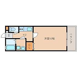 奈良県生駒市山崎町の賃貸アパートの間取り