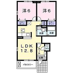 埼玉県川越市小中居の賃貸アパートの間取り