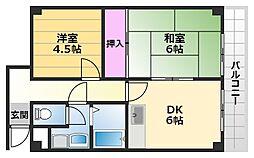 ラフィーネ深井清水 3階2DKの間取り