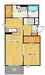 京阪本線 西三荘駅 徒歩2分の賃貸アパート 1階1LDKの間取り