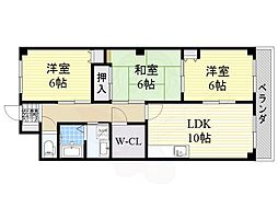 JR東海道・山陽本線 JR総持寺駅 徒歩28分の賃貸マンション 4階3LDKの間取り