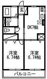 エトワール韮塚[201号室]の間取り