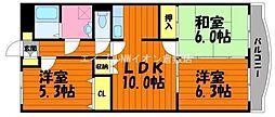 岡山県総社市中央5丁目の賃貸マンションの間取り