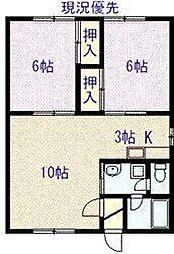 永山817ハイツ 2階2LDKの間取り