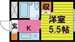 阪急千里線 関大前駅 徒歩10分の賃貸マンション 1階ワンルームの間取り