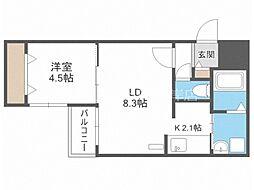 仮)ブランシャール菊水3-4 4階1LDKの間取り