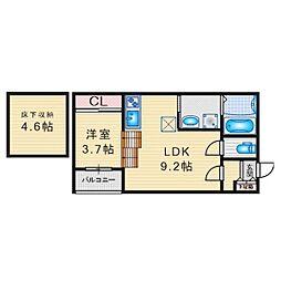 名古屋市営東山線 中村日赤駅 徒歩5分の賃貸アパート 1階1SLDKの間取り