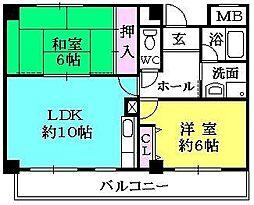 ベリオ夙川[402号室]の間取り