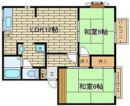 兵庫県神戸市須磨区南落合1丁目の賃貸アパートの間取り
