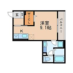 JR東海道本線 静岡駅 徒歩11分の賃貸アパート 2階ワンルームの間取り