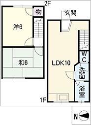 [タウンハウス] 愛知県稲沢市重本2丁目 の賃貸【/】の間取り
