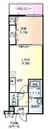 ヴェルデュール 2階1LDKの間取り