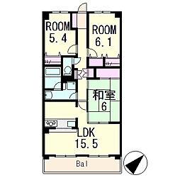 滋賀県栗東市綣2丁目の賃貸マンションの間取り