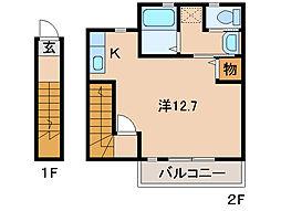 ユースフル 2階ワンルームの間取り