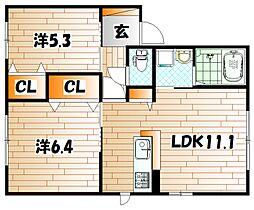カムズコート D棟[1階]の間取り
