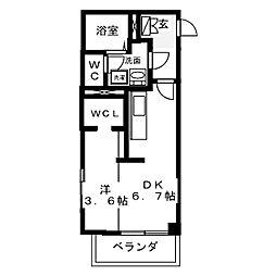 名古屋市営東山線 中村日赤駅 徒歩7分の賃貸マンション 3階ワンルームの間取り